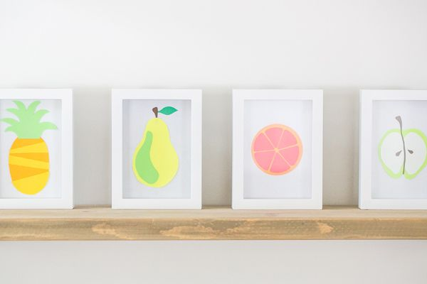 Simple, colorful shapes (that kids can easily cut out) are greater than the sum of their parts: When artfully arranged, they become shelf-worthy prints. Get the tutorial at Sugar & Charm »   - Redbook.com