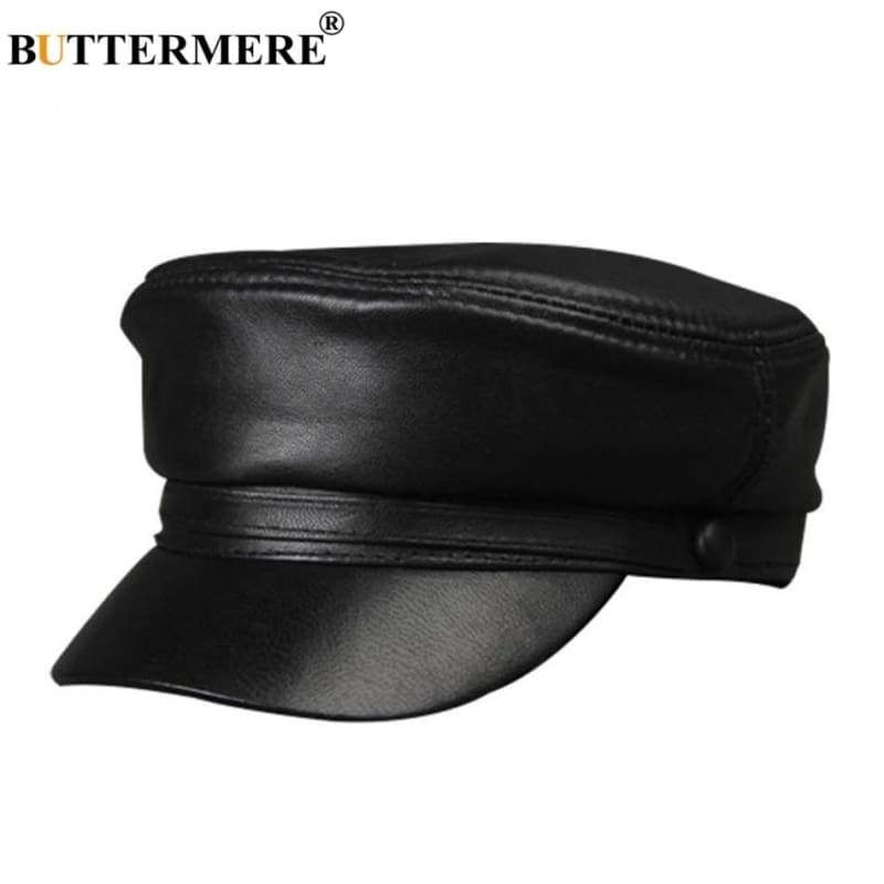 Women Military Hat Black Genuine Leather Baker Boy Hat  Presents  Christmas   Celebsinhats 7d5ff3c14ec1