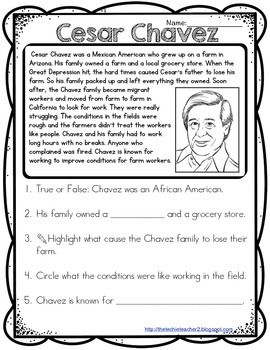 Cesar chavez reading passage social studies pinterest cesar