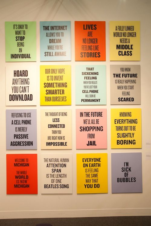 Douglas Coupland's 'Twelve Slogans for the Early 21st Century, 2011-2012' - shown by the Art Dealers Association of Canada at The Armory, NYC.