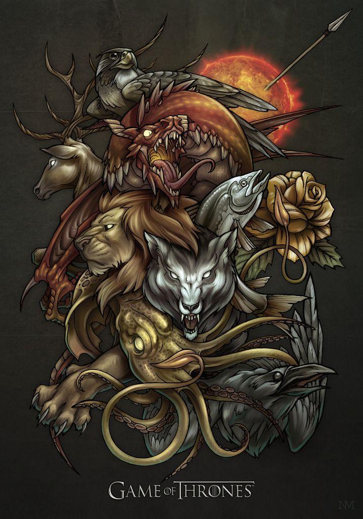 badass illustration of westeros major house sigils