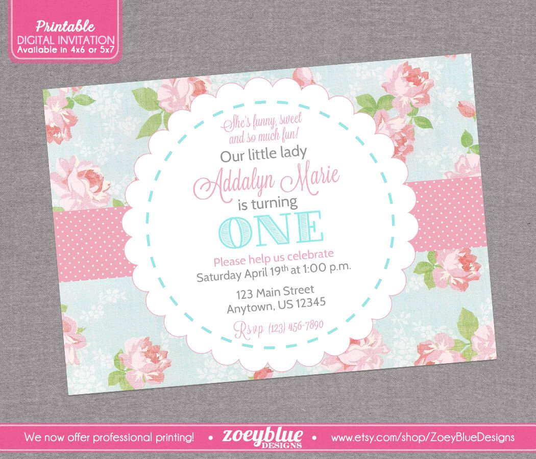 Shabby Chic Birthday Invitation Vintage Floral Pink Blue Girl First ...