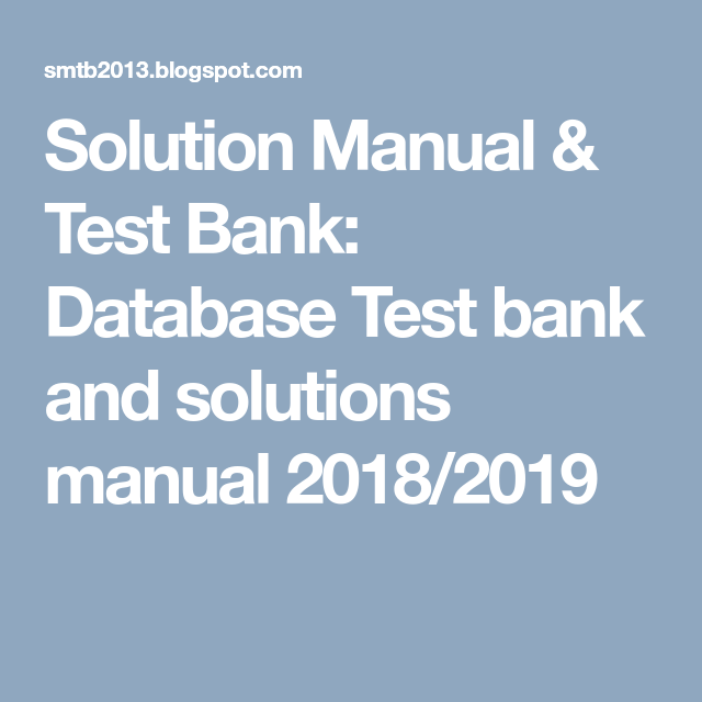 database test bank and solutions manual 2018 2019 banks rh pinterest com  Blogspot.com Real Rainbow