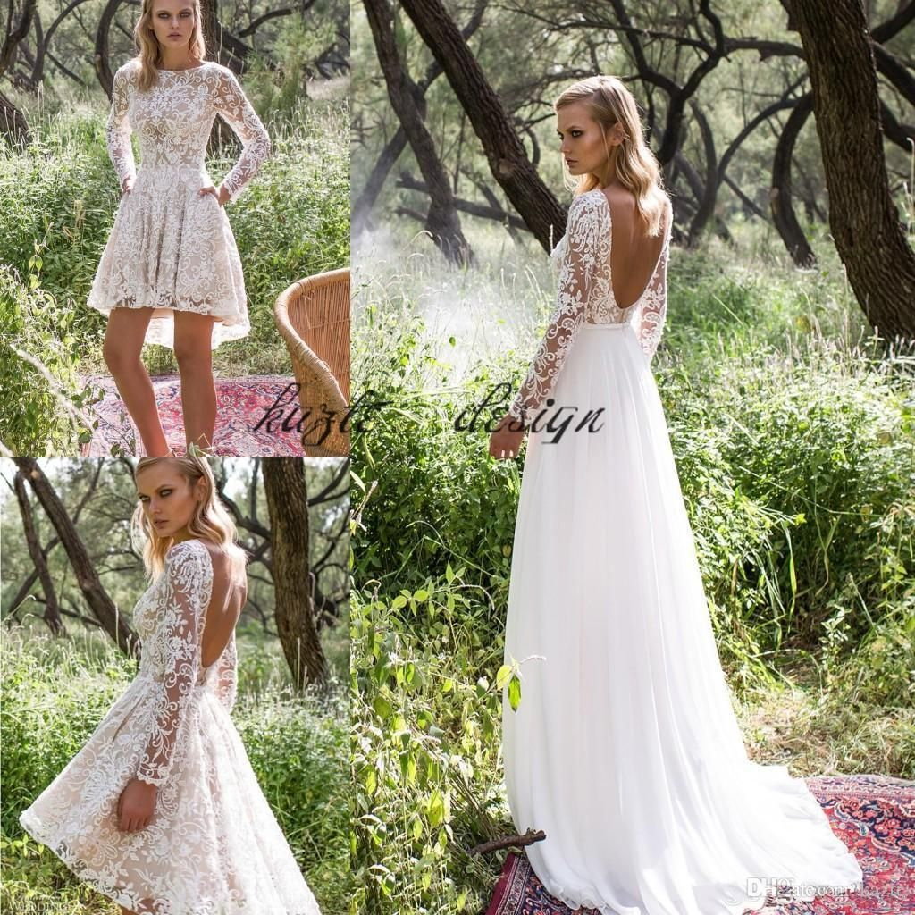 Discountlimor Rosen 2018 Long Sleeve Country Wedding Dresses With Detachable Train Modest Backless Two In One Short Bohemian Beach Wedding Gown From Kazte 149 Knee Length Wedding Dress Backless Bridal Gowns [ 1024 x 1024 Pixel ]