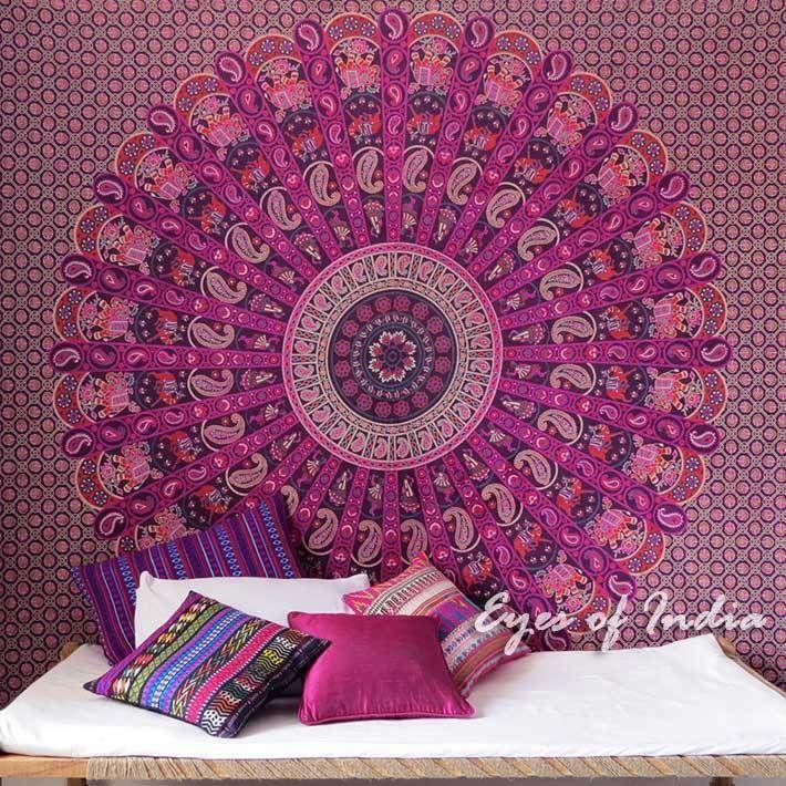 Queen Purple Indian Hippie Mandala Tapestry Bedspread