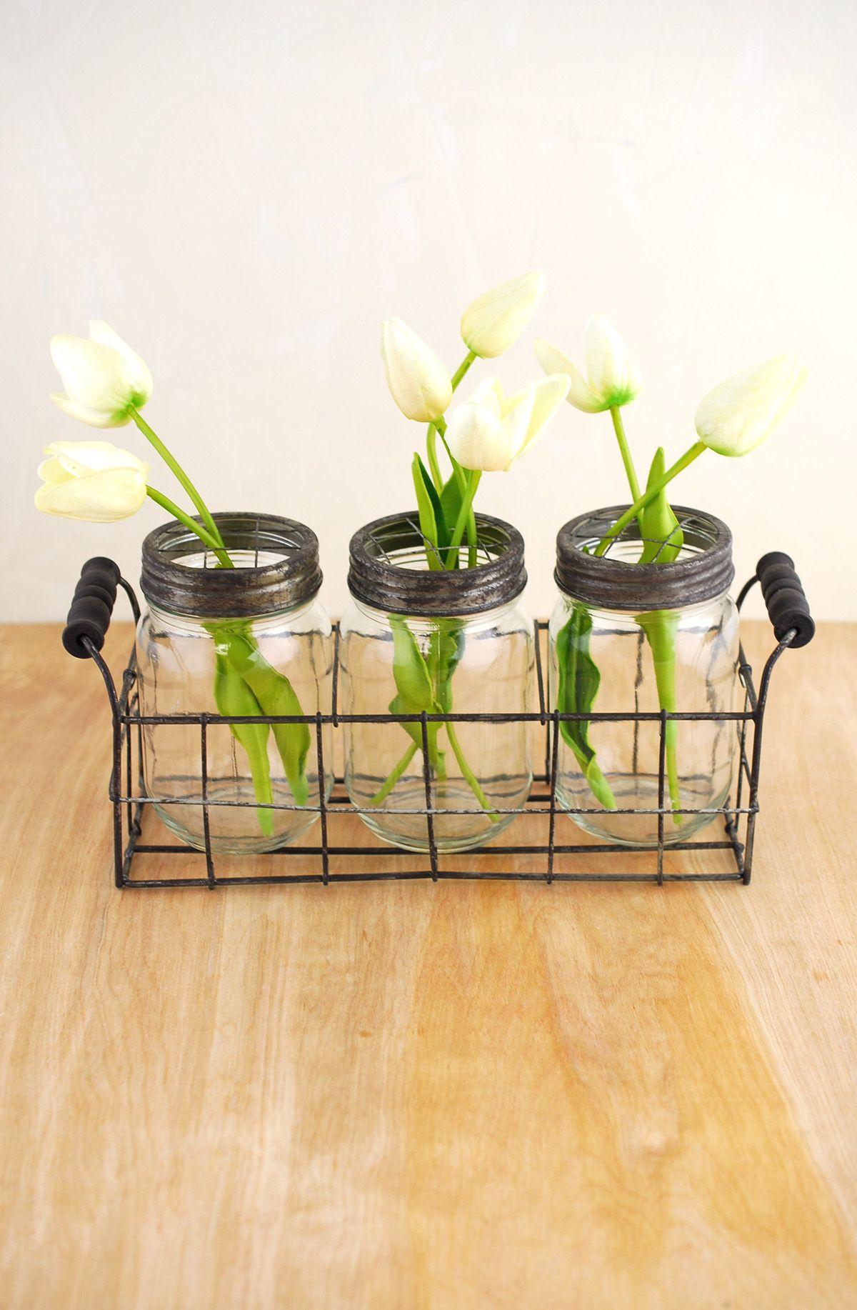 Mason jar vases with frog lids mason jar vases jar and wire basket mason jar vase with frog lid set of 3 jars save on crafts floridaeventfo Images