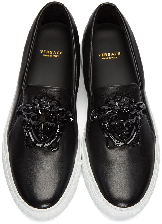 On Art Slip Medusa The Black Sneakers Shoes Of Versace Leather TwpIa