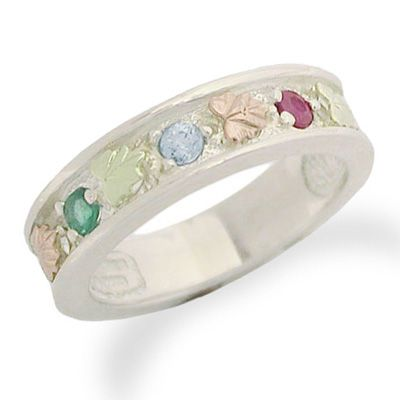 Black Hills Gold Birthstone Family Band In Sterling Silver