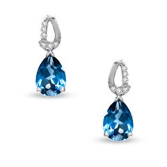 Pear-Shaped Lab-Created Sapphire Dangle Earrings in 10K White Gold with Diamond Accents - Earrings - Gordon's Jewelers $169.15