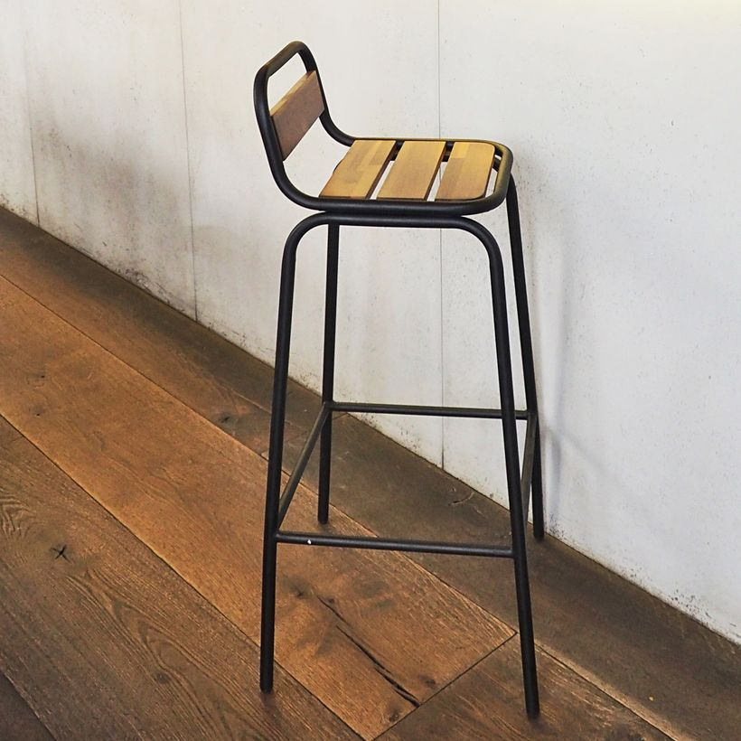 Noir Chaise Esprit Mat Industriel Métal Et En Acacia De Bar Rj5c3ALq4