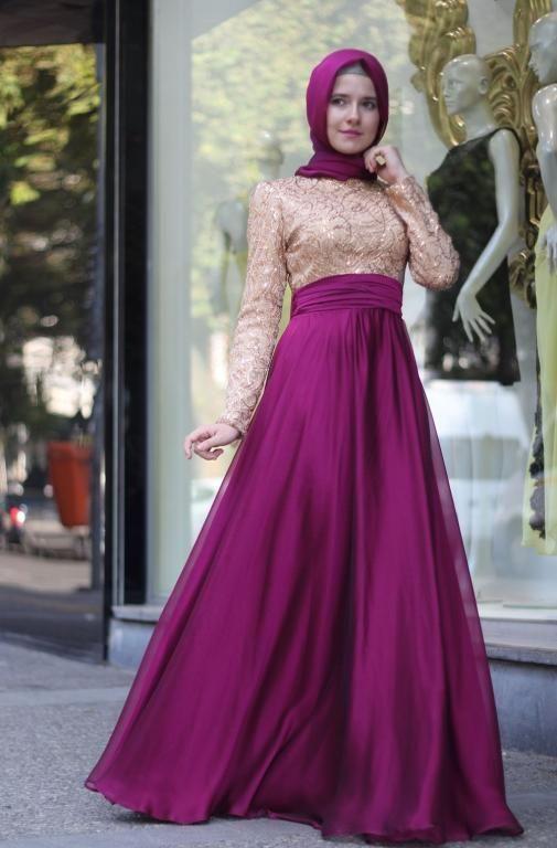 0f55cf15c صور احدث فساتين سهرة جديدة ناعمة 2016 للمحجبات | dress | Fashion ...