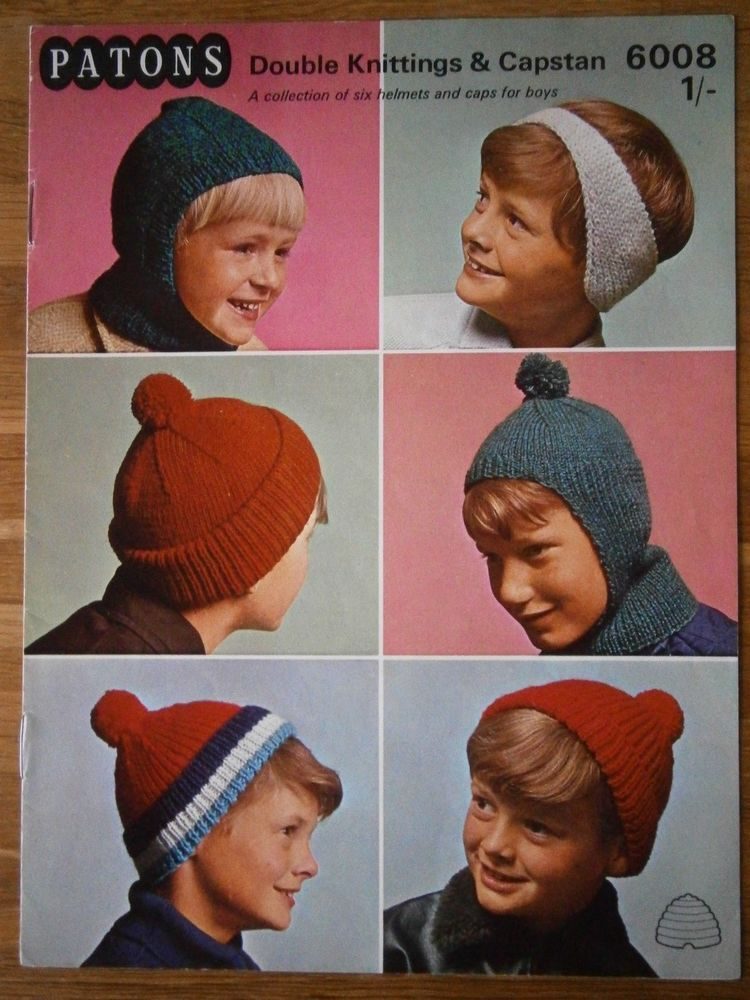 Vintage knitting pattern patons 6008 dk aran childs hats and helmets ...