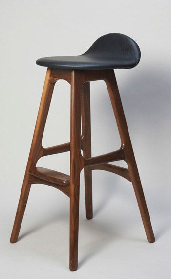 Erik Buck Danish Modern Walnut Wood Barstool