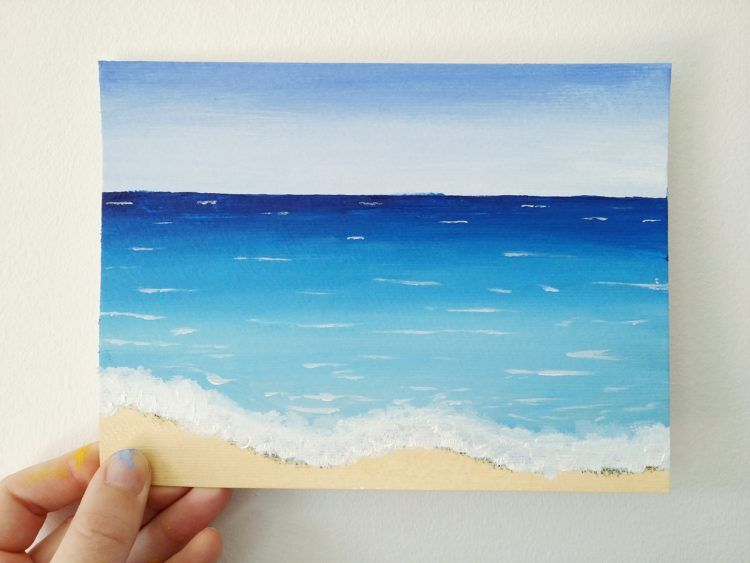how to paint a simple beach scene with acrylics paintings