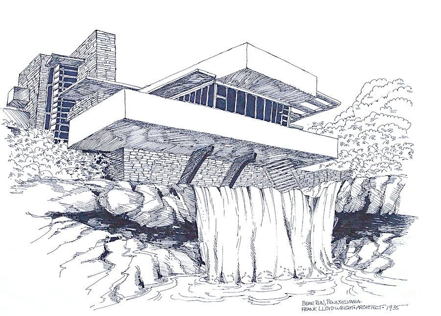 Frank Lloyd Wright Falling Water Architecture Drawing By Robert Birkenes Architecture Drawing Falling Water Architecture Water Architecture