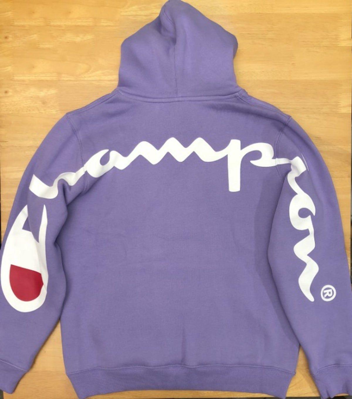 Supreme X Champion Ss18 Purple Hoodie L Purple Hoodie Hoodies Champion Hoodie [ 1361 x 1200 Pixel ]