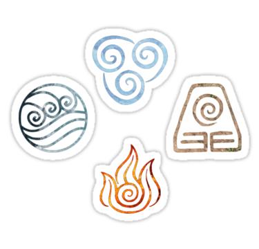 The Four Elements Avatar Symbols Sticker By Colferninja Diy