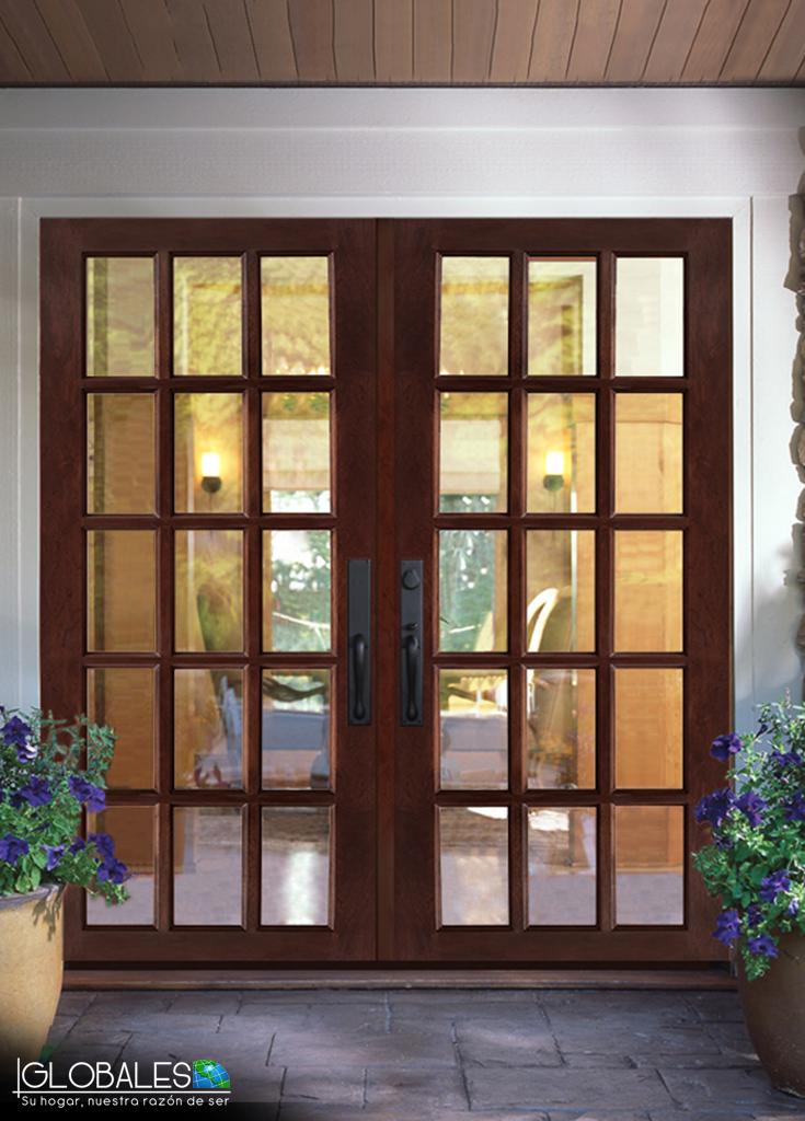 2 puertas de madera valpara so de 15 luces permitiendo la for Puertas para patio interior