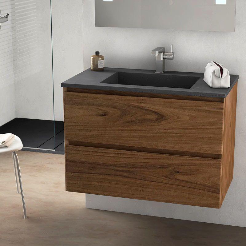 Cordoue, meuble salle de bain bois noyer 81 cm, vasque pierre 3 ...