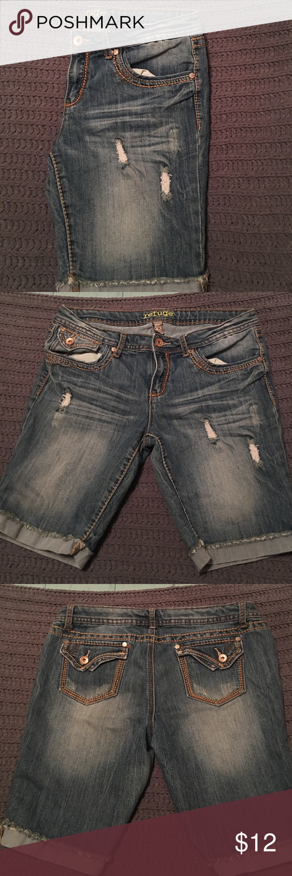 Refuge distressed denim shorts These shorts are Bermuda length and hit mid to low thigh. They have been gently worn but are in great shape. refuge Shorts Jean Shorts