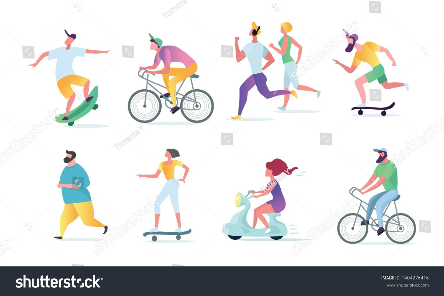 Man And Woman Characters Running Riding Bicycle Skateboarding