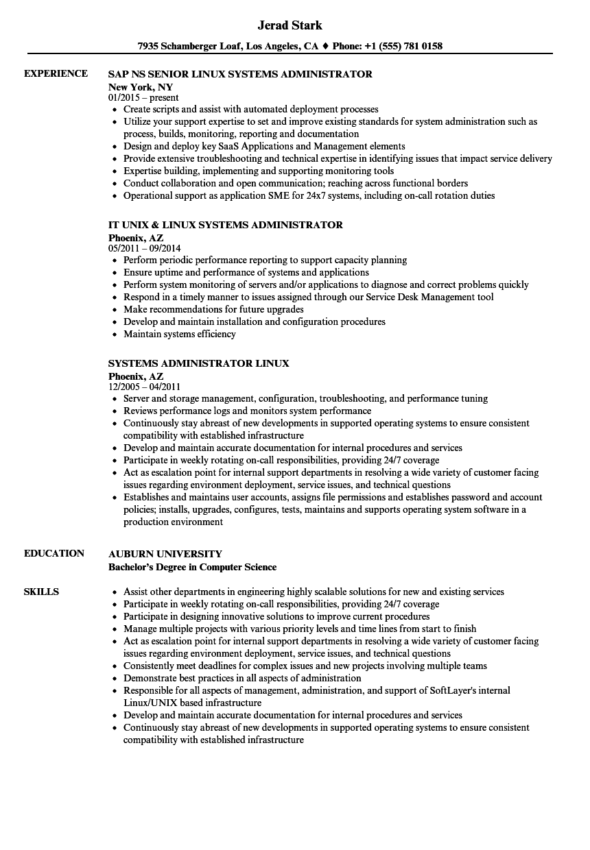 Linux Engineer Resume Project Manager Resume Resume Examples Resume