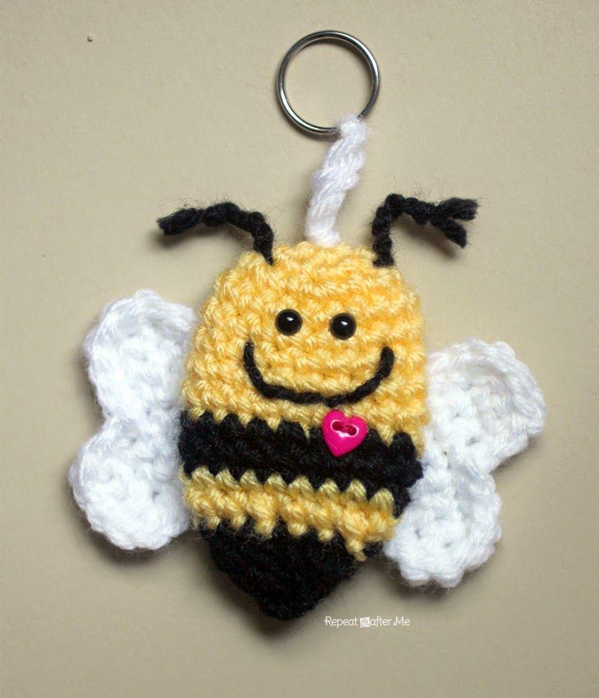 Crochet Bumble Bee Keychain | Pinterest | Bienen, Häkeln ...