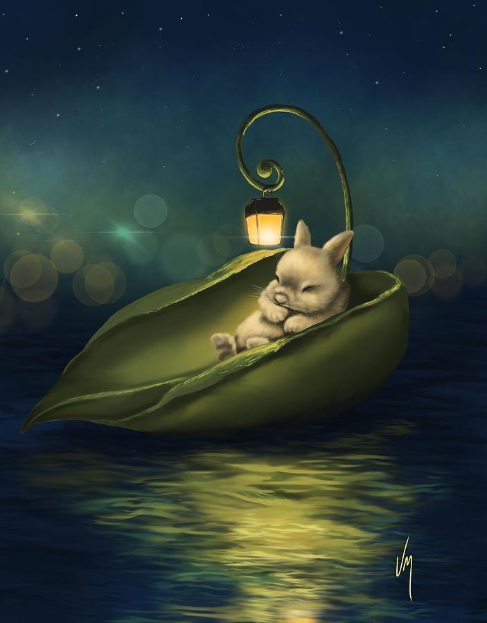 Открытка с кроликом спокойной ночи, летием