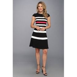 Anne Klein - Colorbanded Beehive Swing Dress (Black) - Apparel - product - Product Review