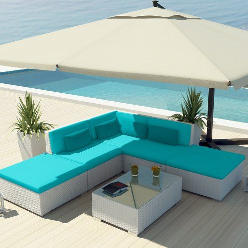 Amazon.com: Uduka Outdoor Sectional Patio Furniture White Wicker ... Ideen Terrasse Outdoor Mobeln