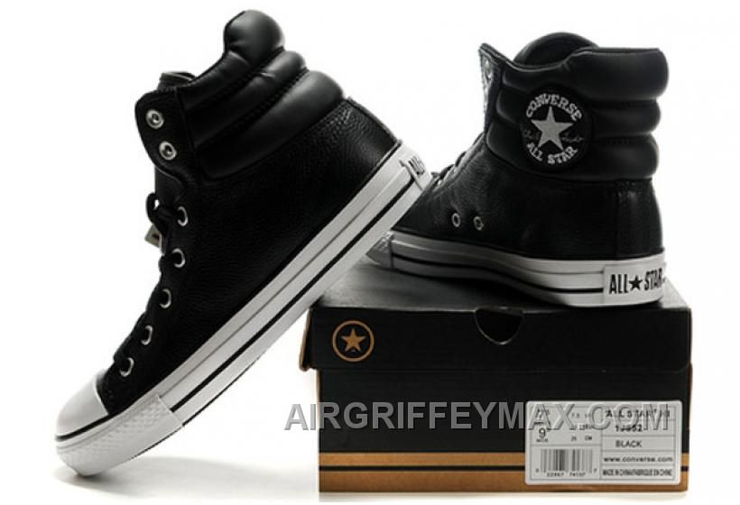 Discount New Embroidery Black Leather CONVERSE Padded Collar
