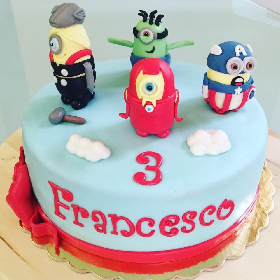 Minions Avengers cake fondant happy birthday Francesco Torte