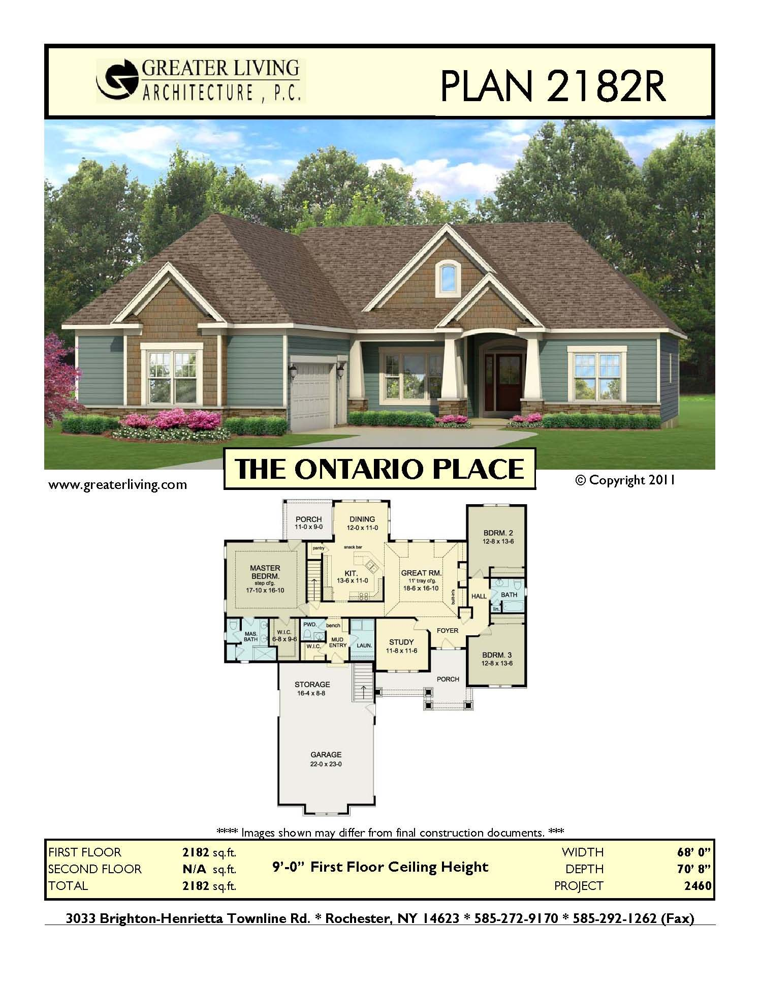 Plan  2182R THE ONTARIO  PLACE New house  plans  Ranch