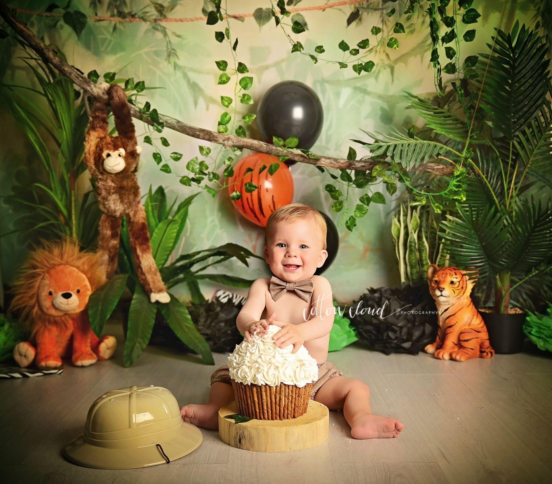 Cake smash in 2020 jungle theme birthday cake smash