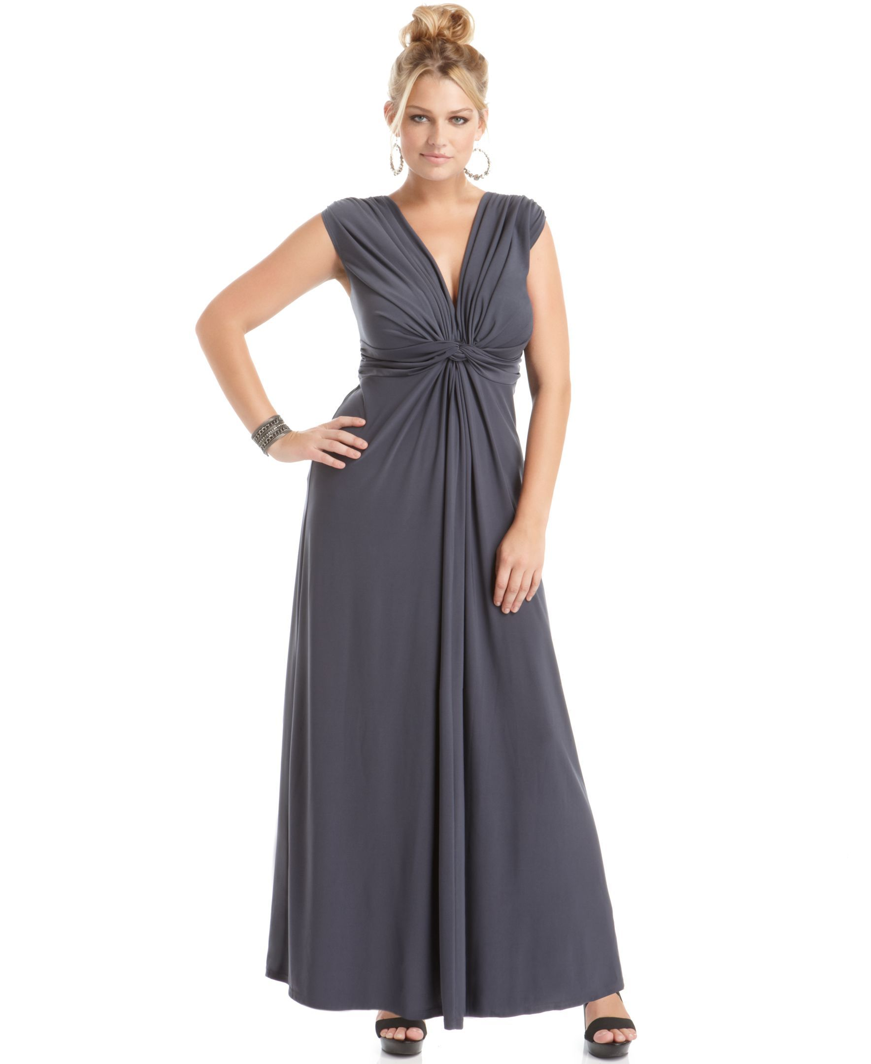 Love squared trendy plus size sleeveless knotted maxi dress maxi