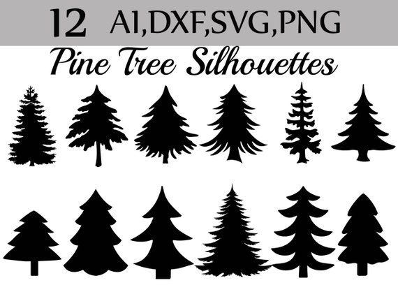 Svg Pine Tree Clipart Silhouettes Pine Tree Etsy Christmas Tree Silhouette Pine Tree Silhouette Christmas Tree Clipart