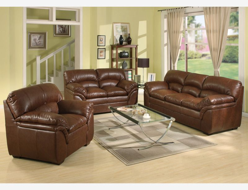 Joyce Brown Leather Sofa Couch Loveseat Chair Tufted Living Room Set