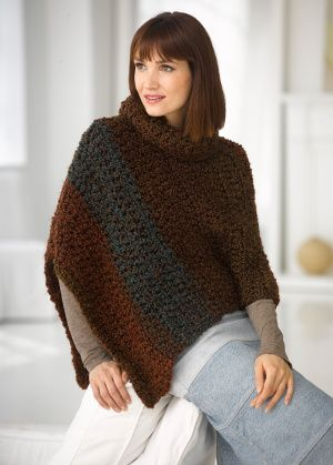 This Cape In Lion Brands Homespun Thick And Quick Will Work Up In A