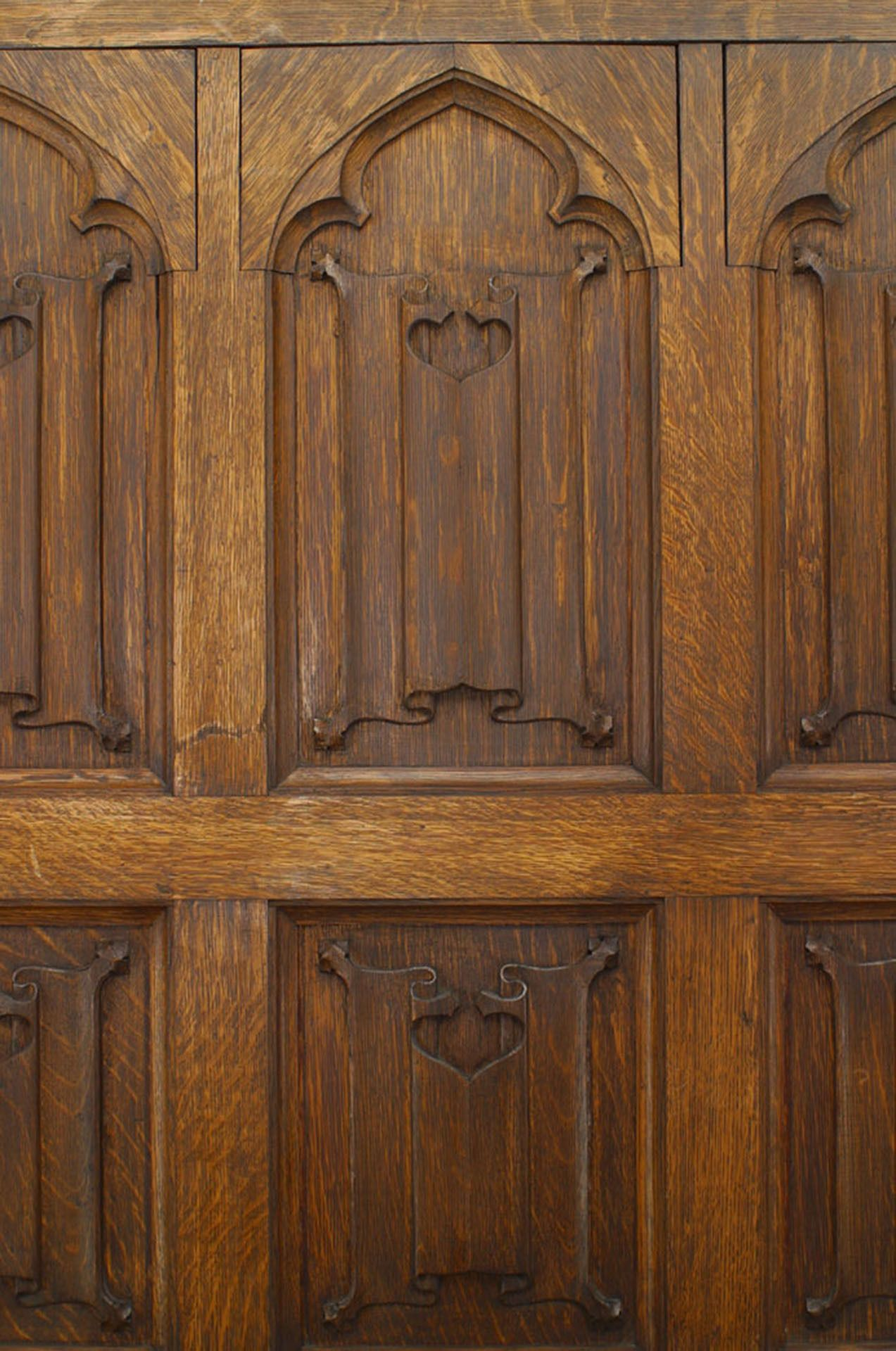Pair Of 19th Century English Gothic Revival Carved Oak