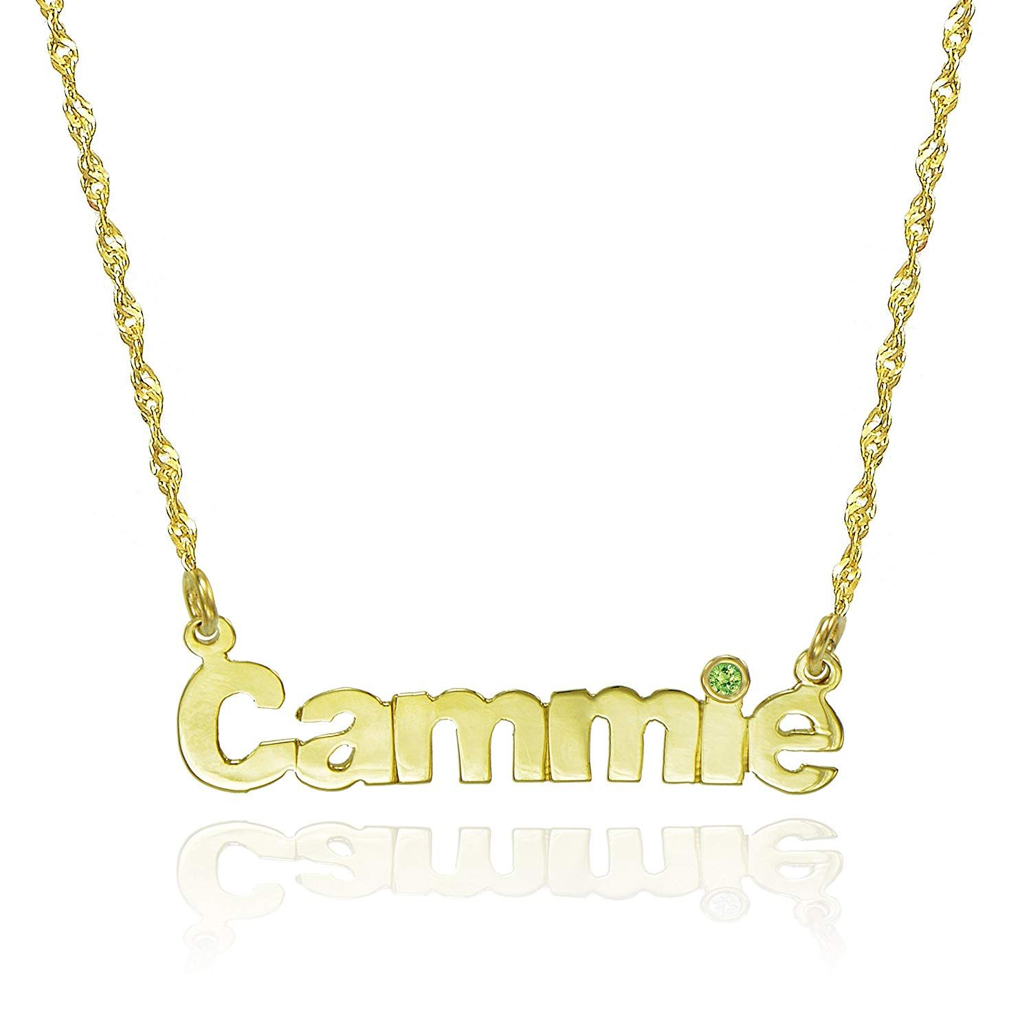 222e5d84c3e1a8 Pyramid Jewelry 14K Yellow Gold Personalized Nameplate Necklace with CZ -  Customize Any Name