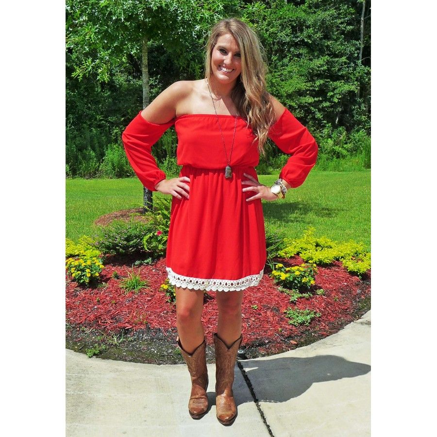 Romeo And Juliet-Off The Shoulder Dress Red