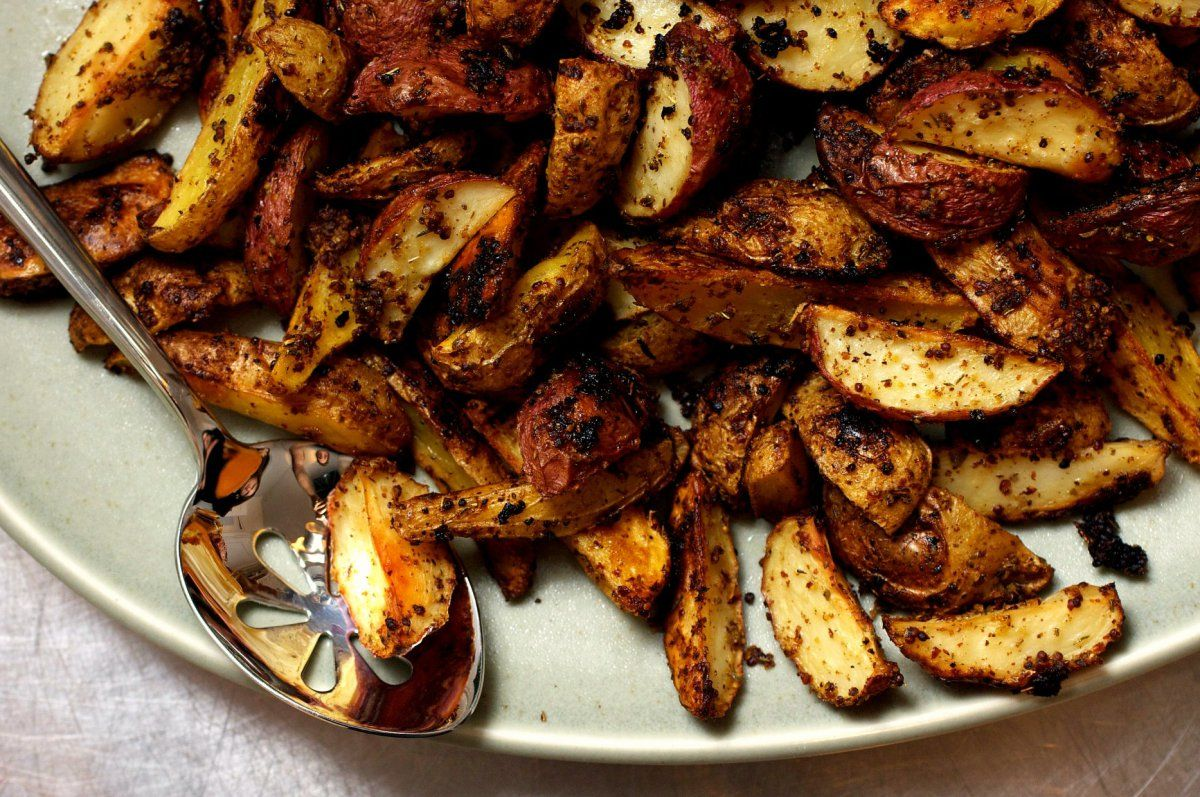 mustard-roasted potatoes | Aperitivos y Diario