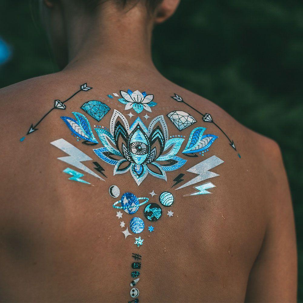 28 Nice Aqua Color Tattoos: Turquoise Yoga Tattoo (tigerlily Metallic Glow In The Dark