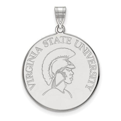 925 Sterling Silver Rhodium-plated Laser-cut North Carolina State University Medium Pendant