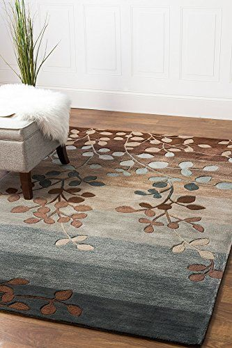 Blue Brown 8 X 10 Area Rug Modern Floral Branch Leaf Transitional