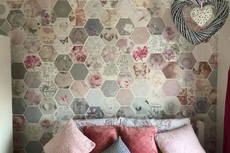 Thrifty Mum Transforms Her Home Using Free Wallpaper Samples The Sun Free Wallpaper Samples Wallpaper Samples Diy Wall Design