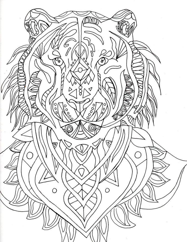 Pin van Barbara op coloring lion, tiger