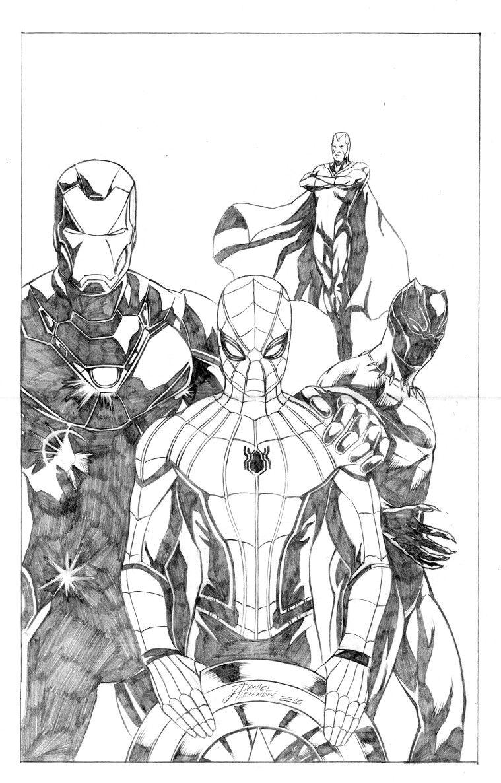 9a4d6d6c3e51 Original art! Team Ironman (Civil war) by Daniel Alexandre ...