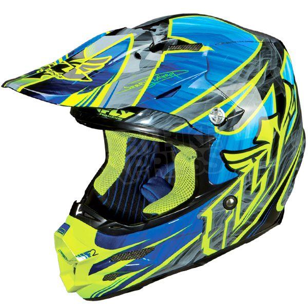 Fly Racing F2 Carbon Helmet Acetylene Blue Hi Viz Yellow Casque Motocross Casque Bleu Casque Moto