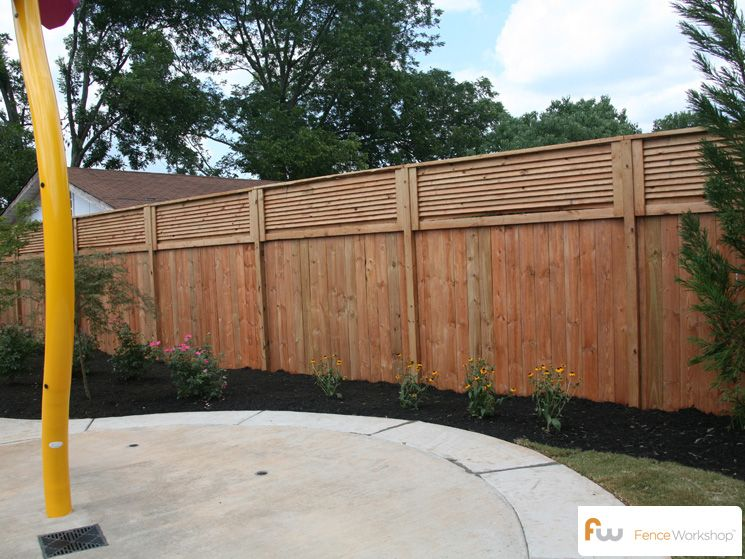 The Stanton Louvered Top Wood Privacy Fence Pictures Per Foot Pricing Patio Fence Fence Toppers Diy Privacy Fence